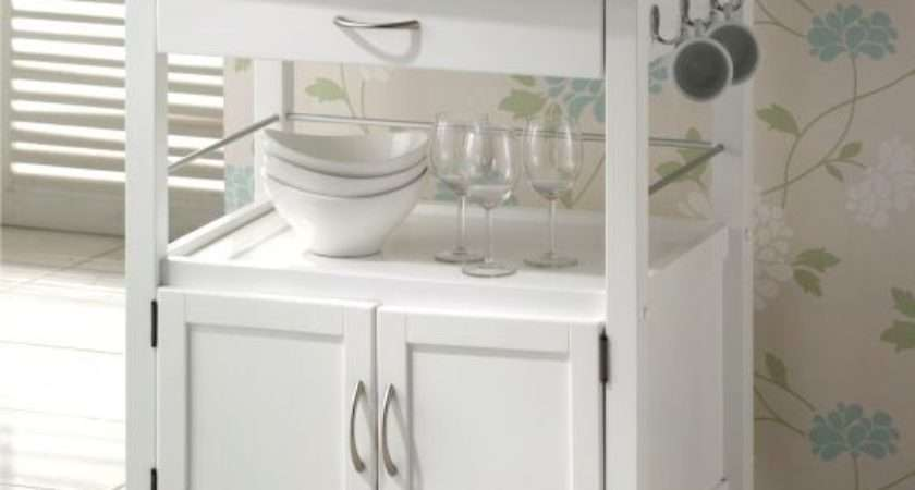 Hardwood White Painted Grainte Top Kitchen Trolleys