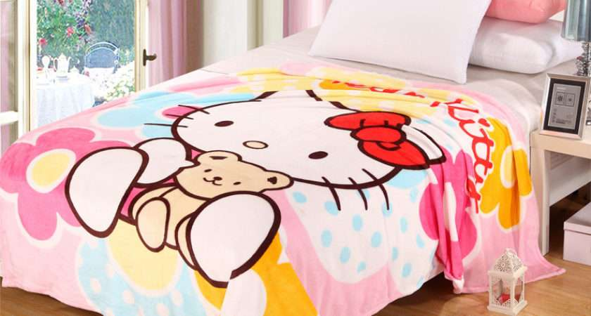 Hello Kitty Blanket Adult Kids Plush Fleece Bed