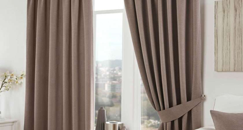 Herringbone Tweed Chenille Lined Curtains Taupe Beige Tape