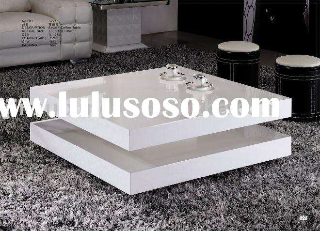 High Gloss White Lacquer Wooden Coffee Table