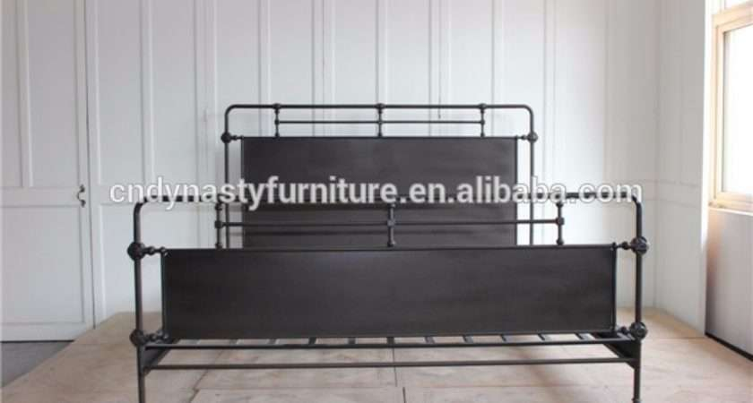 High Quality Industrial Style Bedroom Furniture Hotel Metal Frame Bed
