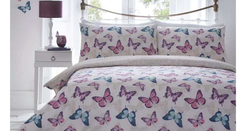 Home Collection Multi Coloured Printed Butterfly Bedding