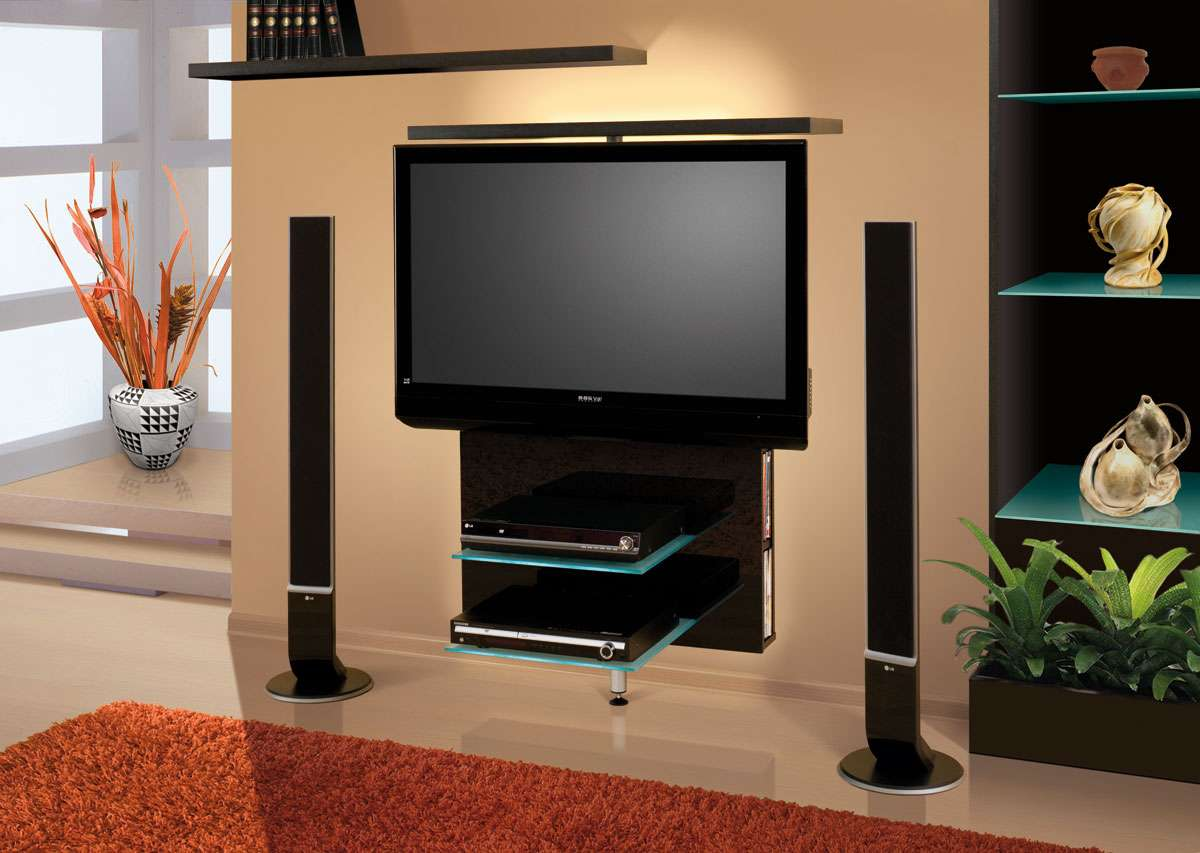 Home Wall Stands Vario Black High Gloss Revolving Stand
