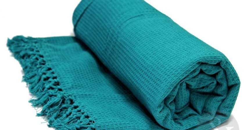 Honeycomb Teal Luxury Cotton Throw Bedding