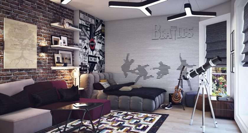 Huge Beatle Themed Wall Mural Complimented Trendy Road Sign
