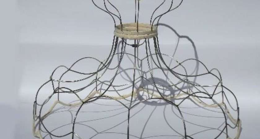 Huge Scalloped Lampshade Frame Vintage Wire Victorian