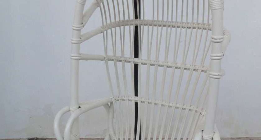 Iconic Sixties White Cane Parrot Hanging Chair Metal