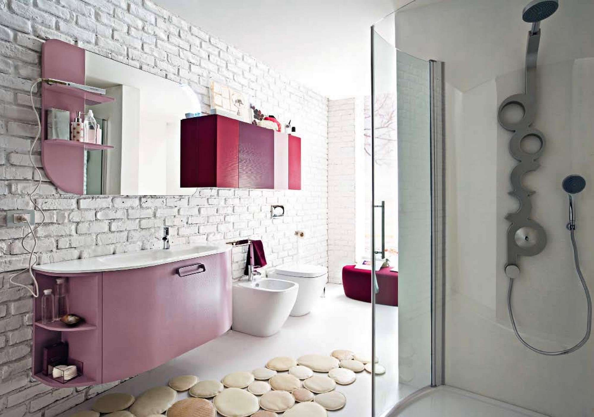 Ideas Using White Brick Wall Tiles Mirror Decorative