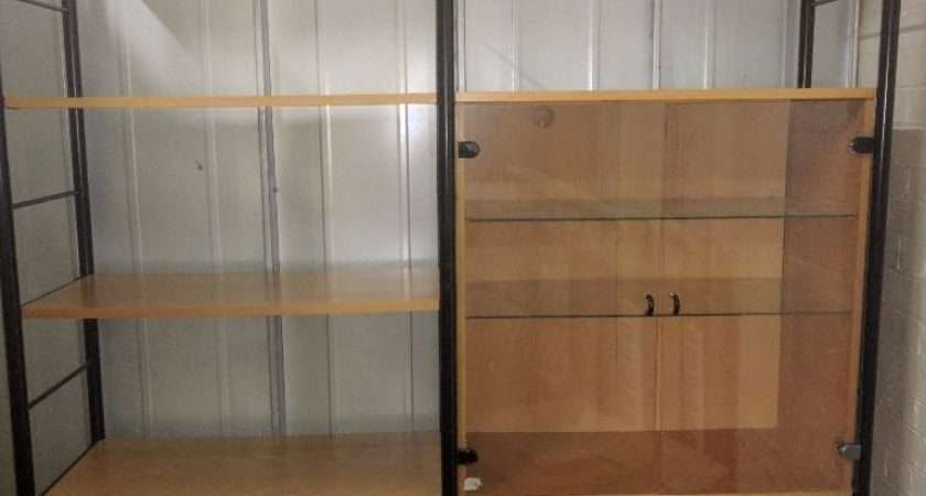 Ikea Niklas Beech Shelving Unit Glass Door Cabinet