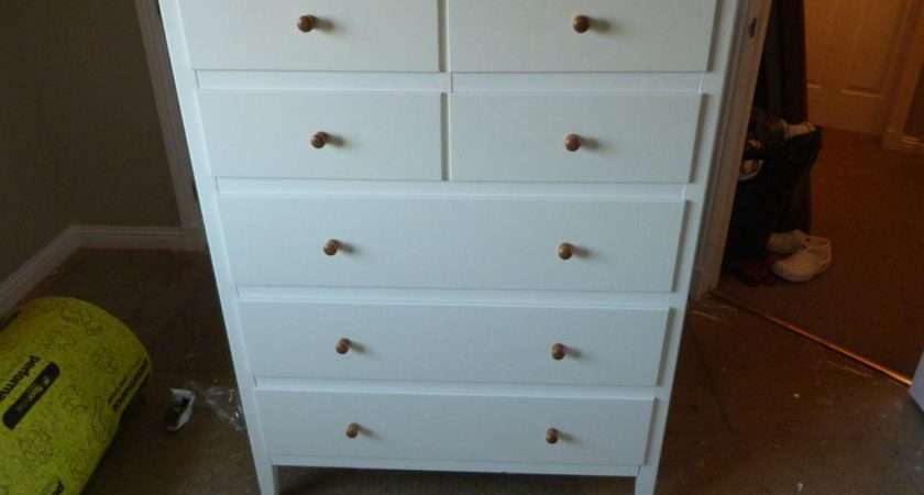 Ikea Visdalen White Chest Drawers Wooden Top