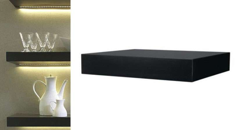 Ikea Wall Shelf Black Floating Conceal Mounting Book Holder Decor