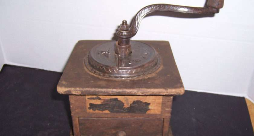 Imperial Eagle Cast Iron Wood Coffee Grinder Mill Signed Ebay