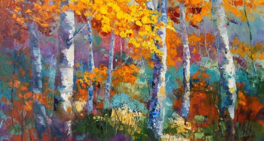 Impressionist Painting Silver Birch Trees Fall Landscape