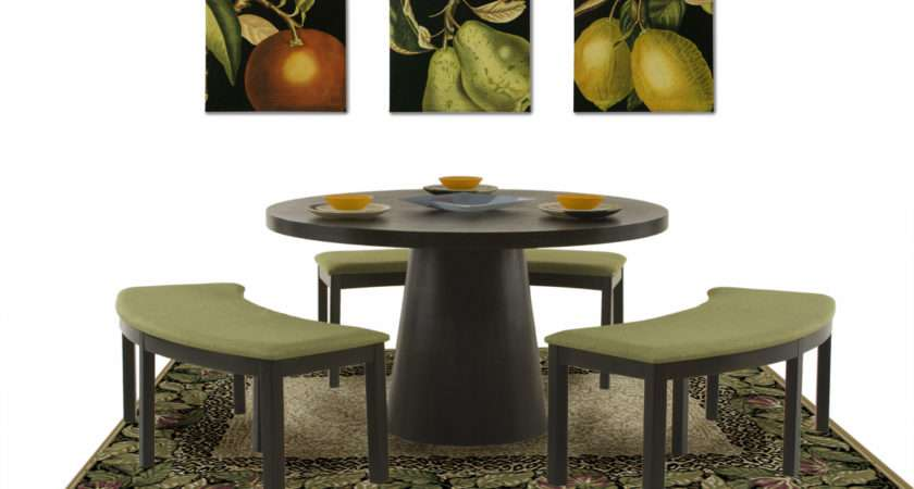 Inch Round Dining Table Three Curved Benches Zara Furniture