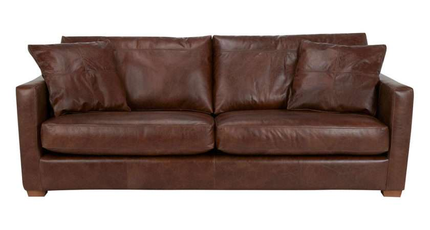 John Lewis Baxter Grand Leather Sofa Antique Cigar