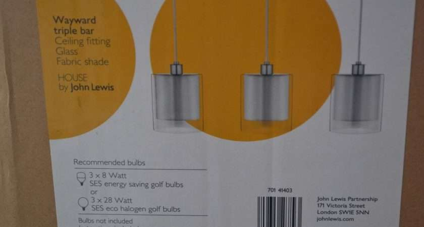 John Lewis Wayward Triple Light Ceiling Lamps Glass Shades Pendant