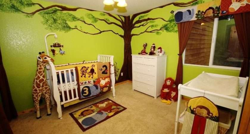 Jungle Theme Baby Room Painted Tree Green Walls Animals