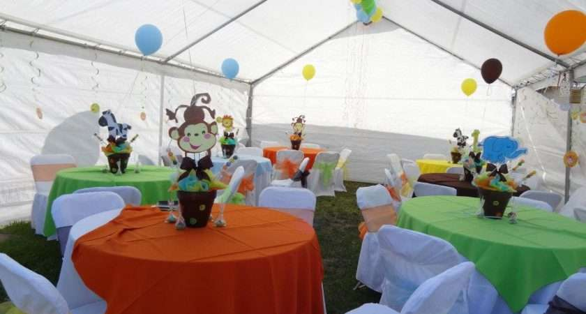Jungle Themed Centerpieces Table Linen Baby Shower