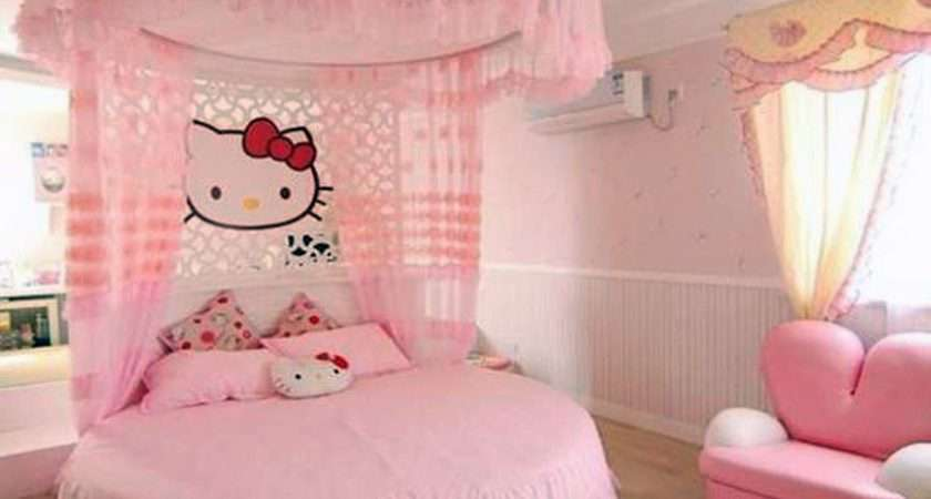 Kids Circle Bed Themed Adding Hello Kitty Logo