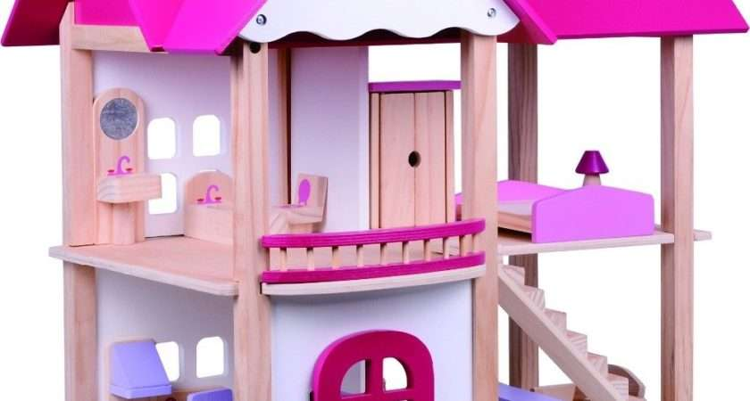 Kids Girls Wooden Dolls House Children Furniture Cottage