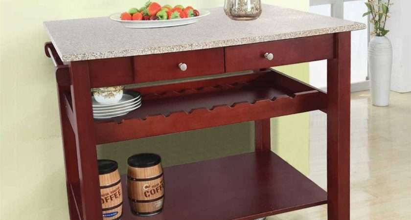 Kitchen Furniture Pine Wood Cart Granite Top