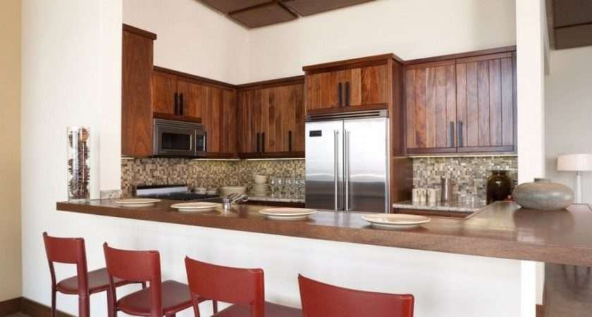 Kitchen Interior Design Ideas Wood Cabinet Breakfast Bar