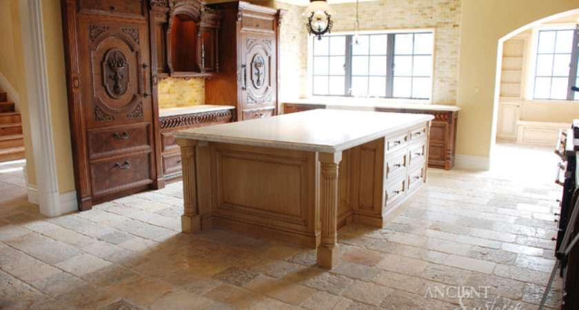 Kitchen Stone Floors Mediterranean Style