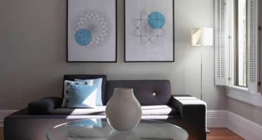Lamp Gray Wool Rug Walls Paint Color Shutters Modern Living Room
