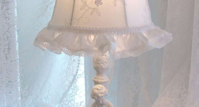 Lamp Shade Antique White Embroiderd Fabric Shabby Cottage Chic