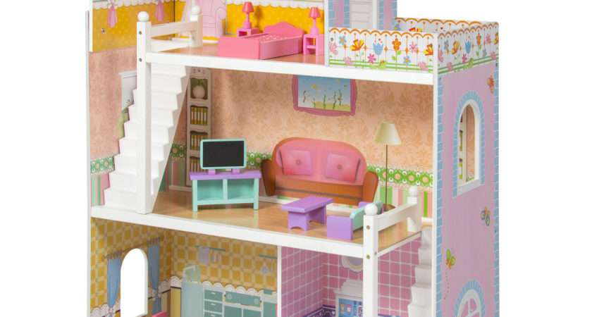 Large Children Wooden Dollhouse Fits Barbie Doll House