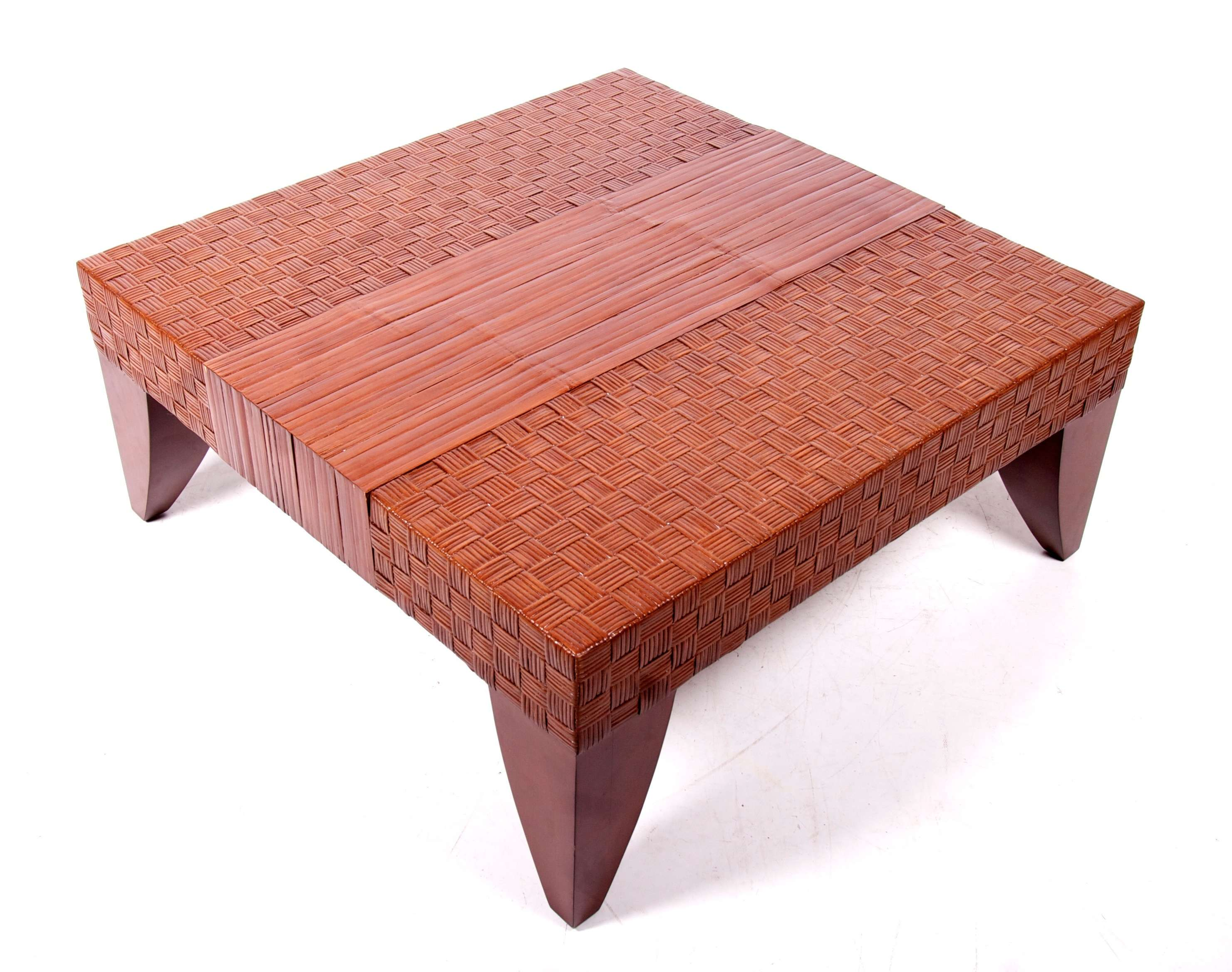 Large Coffee Table Conservatory Rattan Leather Solid Wood