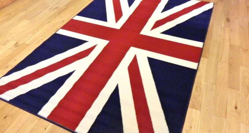 Large Runner Traditional Union Jack Flag Rug Red Ivory White Blue Sale