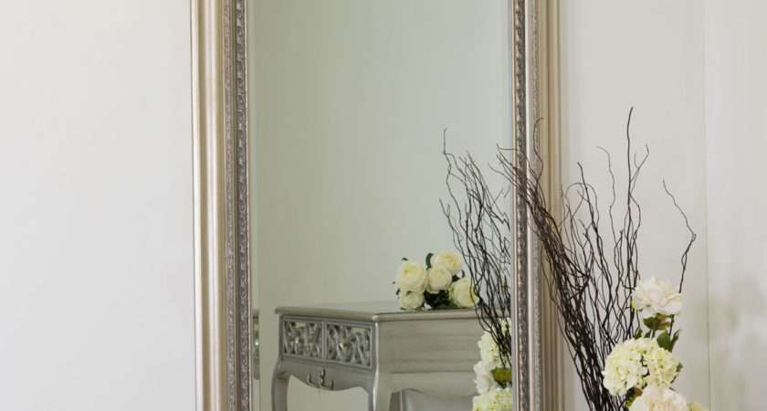 Large Silver Antique Style Wall Mirror Wood