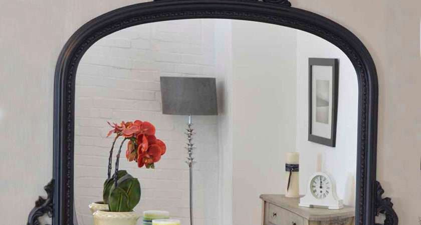 Large Wall Mirror Vintage Style Arched Black Overmantle