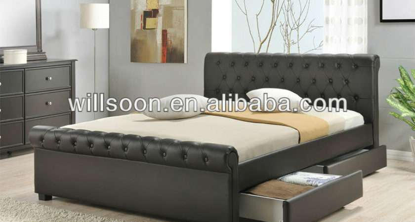 Latest Drawers Design Double Faux Leather Bed Wsb