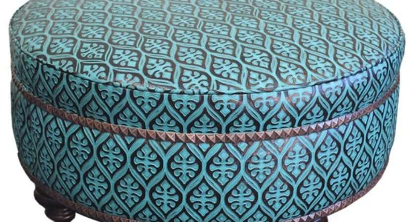 Leather Teal Ottoman