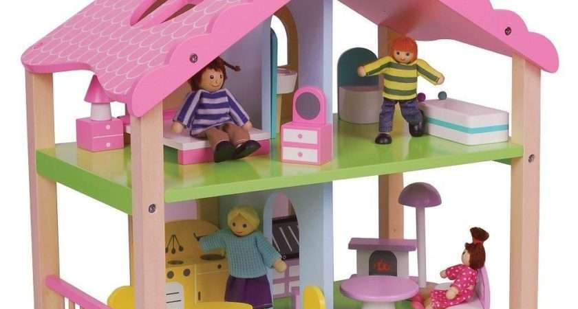 Lelin Wooden Pink Doll House Childrens Girls Summer Home