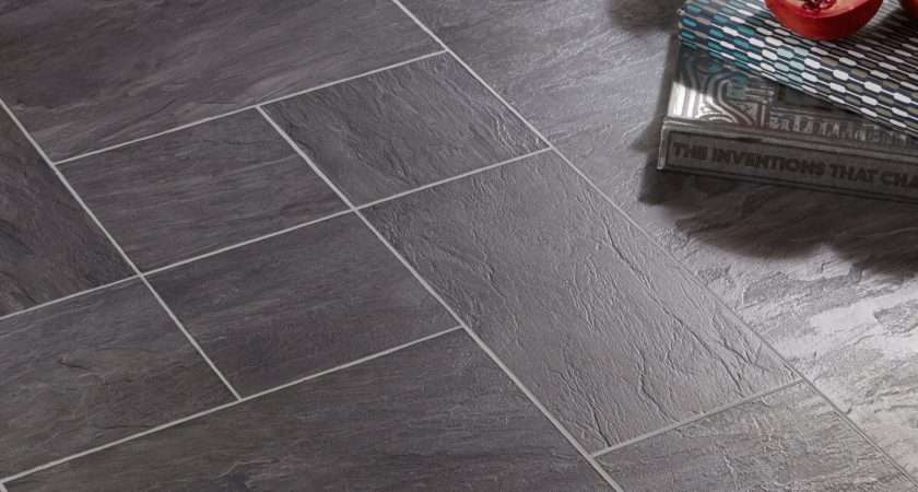 Libretto Black Slate Tile Effect Laminate Flooring