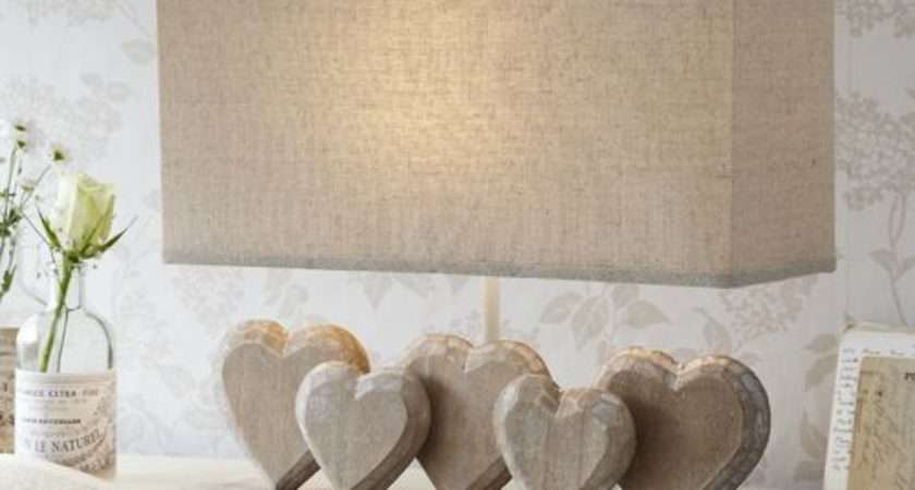 Lighting Lamps Red Hearts Lamp Shades Shabby Chic Linens Bows