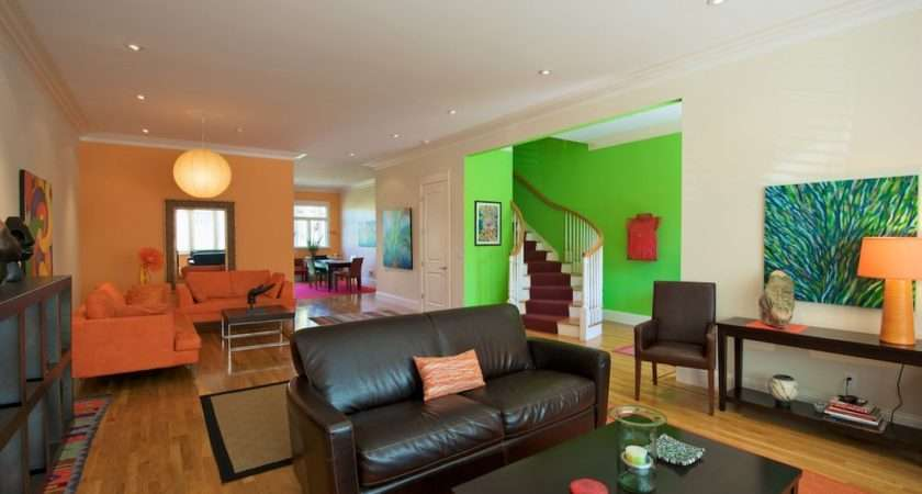 Lime Green Orange Brown Living Room Contemporary