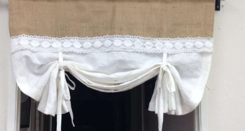 Linen Tie Curtains White Pull Valance Shabby