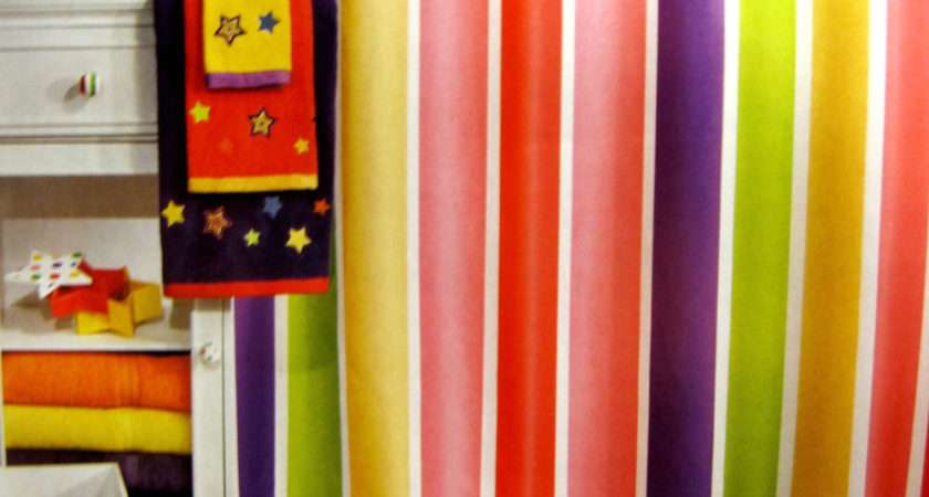 Little Miss Matched Super Stripe Bright Colors Shower Curtain Ebay