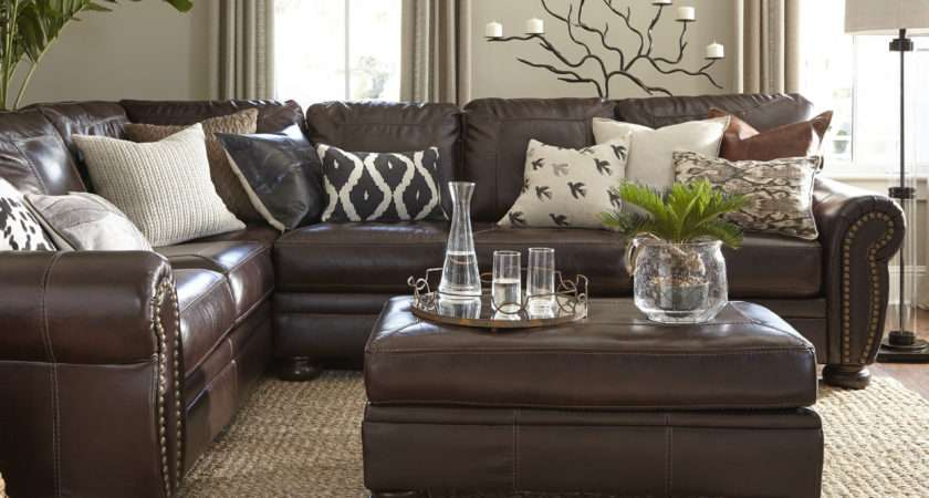 Living Room Brown Leather Sofa