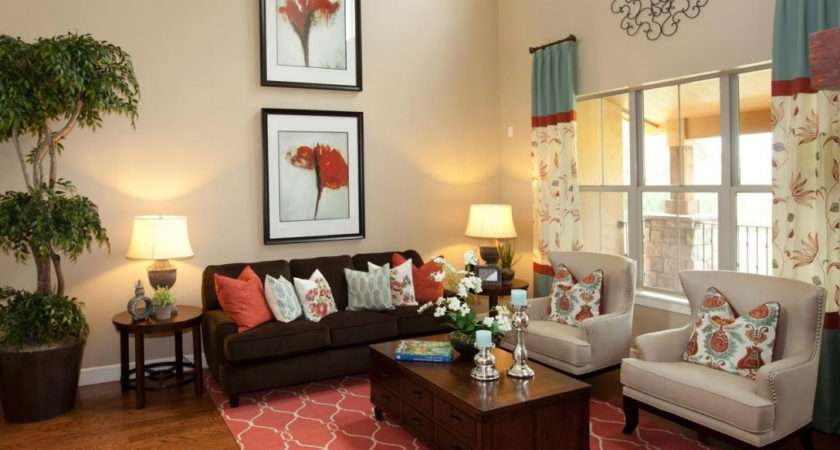 Living Room Brown Turquoise