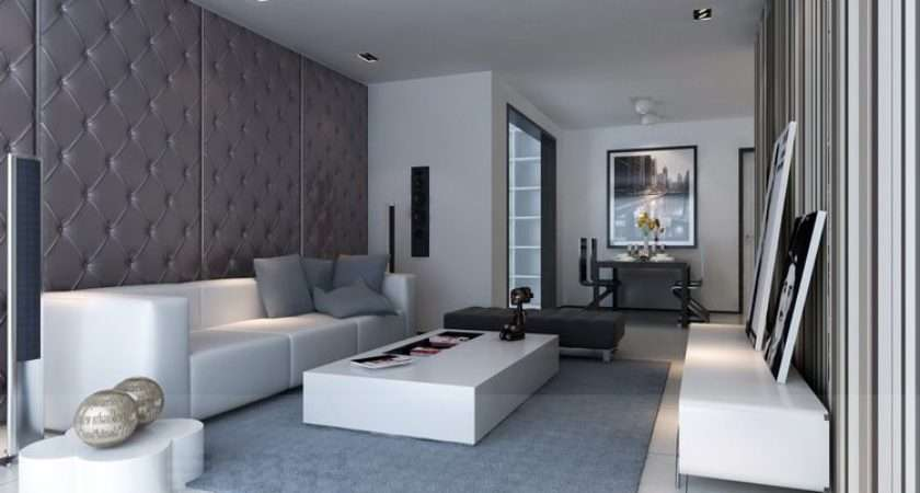 Living Room Contemporary Padded Feature Wall