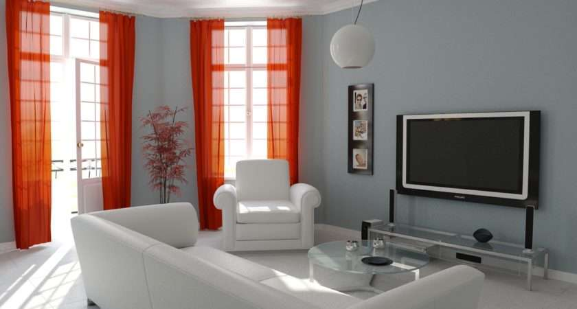 Living Room Curtains White Modern Red