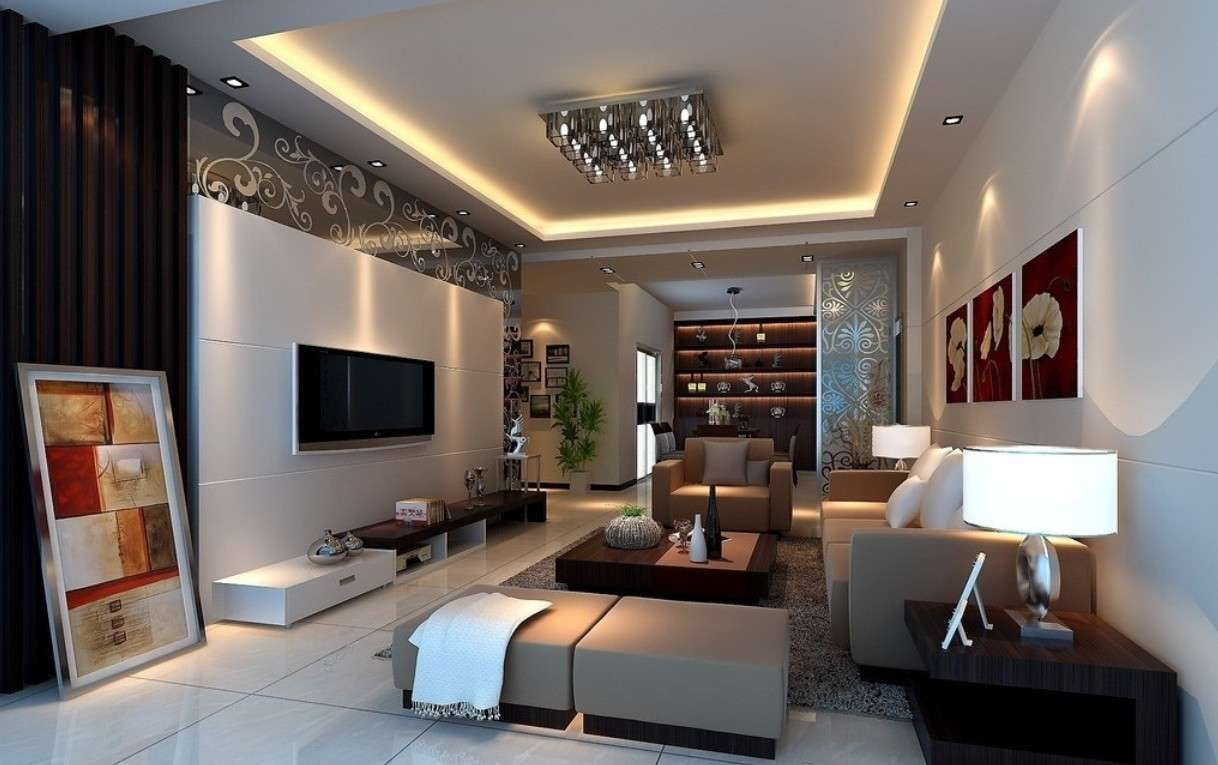 Living Room Design Ideas Dark Beige Combined Brown Great