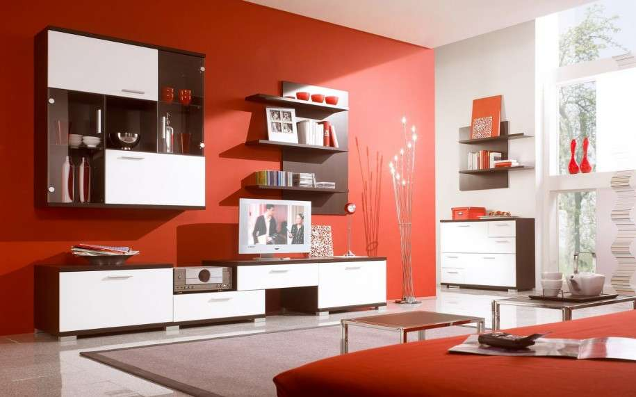 Living Room Designs Red Wall White Cabinet