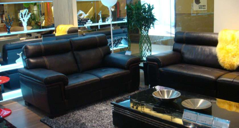 Living Room Interior Design Black Sofa