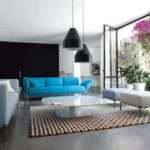 Living Room Library Wonderful Black Lamps Blue Sofas White